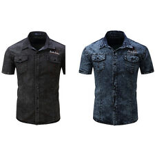 Men's Fashion Summer Short Sleeve Slim Fit Denim Button Front Lapel Shirt Candy
