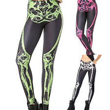 Women Sexy Skull Bone Leggings Print Stretchy skeleton Tight Pants 3 Colors