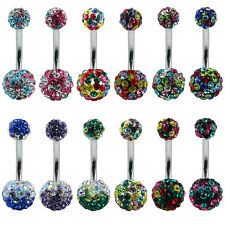 10mm Crystal Belly Piercing shamballa disco ball navel rings belly button rings