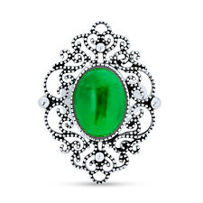 Bling Jewelry Sterling Silver Dyed Green Jade Filigree Cocktail Statement Ring