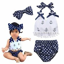Lovely Baby Girls Clothes Set Vest T-Shirt Top & Shorts & Headband Outfits 0-24M