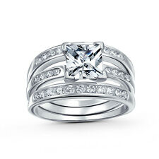 Bling Jewelry 925 Silver Channel Set Princess CZ Engagement Wedding Ring Set