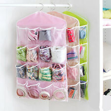 16 Grids POCKETS WARDROBE STORAGE BAG CLEAR HANGING DOOR CLOSET SOCKS ORGANIZER