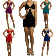 S M L Halter Dress Cut Out Chain Revealing Gold Metallic Trim Club Party Mini