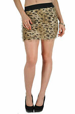 Skirt Mini Leopard Fur Look Black Wild Animal Elastic Waist Micro S M L Sexy