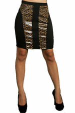Skirt Pencil Leopard Animal Panel S Faux Leather Sexy Wild Stretch Bodycon New