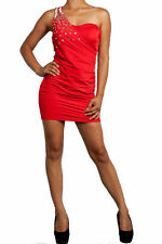 Medium Cocktail Dress Mini One Shoulder Red Jewel Studded Ruched Glam Party Sexy