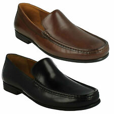 CLAUDE PLAIN MENS CLARKS LEATHER SLIP ON WIDE FIT SMART CLASSIC LOAFER SHOES