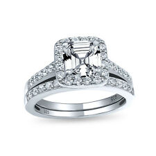 Bling Jewelry Antique Style Sterling Silver Engagement Ring CZ Wedding Set