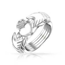 Bling Jewelry 925 Sterling Silver Heart Celtic Claddagh Puzzle Ring Band