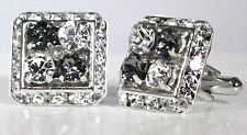 4 CORNER BLACK DIAMOND & CLEAR CRYSTAL CUFFLINKS MADE WITH SWAROVSKI CRYSTALS
