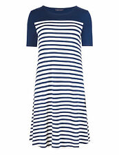New M&S Collection Navy & White Striped Swing Jersey Dress Sz UK 14 Long