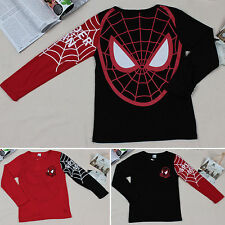 Spiderman Boys Kids Baby Character Long Sleeve T Shirt Tee Sweater Tops Official