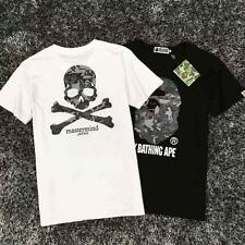 Men's Japan Bape Camo Gray MMJ Monkey Skull Head Design Aape Round Neck T-Shirt