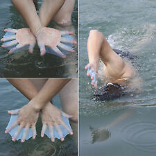 Silicone Blue Swimming Flippers Hand Swim Web glove size L Fins Paddle Dive