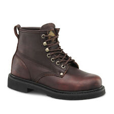 "Mens Brown 6"" Plain Toe Leather Work Steel Toe Boots BONANZA 615 Size 5-13 (D,M)"
