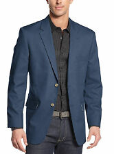 Club Room Classic Fit Solid Medium Blue Two Button Cotton Blazer Sportcoat