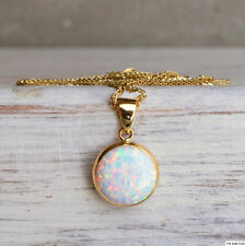 Adita 14k Solid Yellow Gold 12mm ELEGANT White Opal Pendant And Necklace