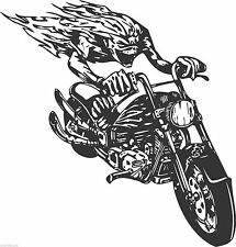 Motor bike wild demon outlaw bikie chopper vinyl wall sticker biker man cave 005