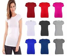 Ladies Casual Basic Plain Cap Short Sleeves T shirt Round Neck Womens Top Tees