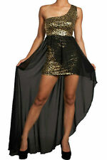 S M L Hi Low Hem Dress Metallic Gold Animal Chiffon Sash See Thru Stretch Mini