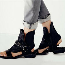 Womens Open Toe Flat Leather Side Zipper Gladiator Shoes Hollow Out Sandals Size