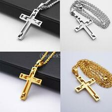 Stainless Steel Cross Crucifix Chain Pendant Necklace Lady Jewelry Gold/Silver
