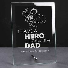 Personalised Engraved Fathers Day Dad Hero Glass Plaque - Dad's Birthday Gift