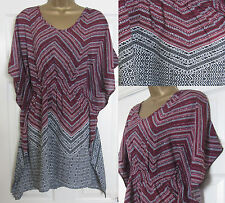 NEW EX M&S Ladies Kaftan Beach Cover Up Swimwear Tunic Geometric Pink Red Black