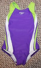 New! Girls Speedo Infinity Splice 1 pc Swimsuit (Swim; Purple/Lime) - Size 5