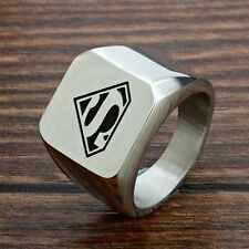 Fashion Superman Pattern Men's Rings Jewelry Silver Steampunk Smooth Band Womens
