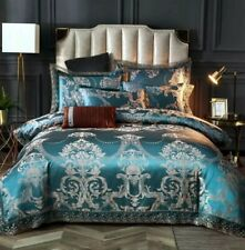 Luxury 6pc. Blue & Tan Jacquard Tribute Silk King Queen Cotton Duvet Bedding Set