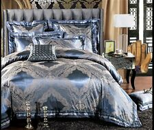 Luxury 6pc. Blue & Silver Jacquard Tribute Silk Diamante King Queen Duvet Set