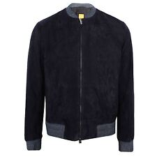 HUGO BOSS MENS NAVY ZIP THROUGH SUEDE JACKET