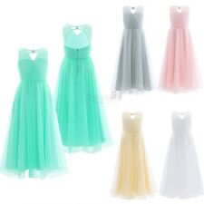 Flower Girls Tulle Dress Princess Pageant Wedding Bridesmaid Party Prom Gown