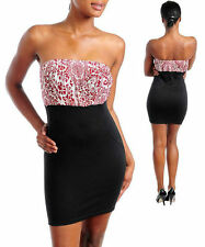 Dress Strapless Floral Lace Bust Mini Stretch Tube Cocktail Sexy Paisley New