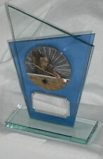 BOWLING,FISHING,DARTS,SNOOKER,POOL CLEAR & BLUE CRYSTAL TROPHY,2 SIZES,ENGRAVED