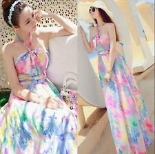 Summer New Bohemian Full-Length Skirt Floral Chiffon Dress Beach Maxi Dresses 66