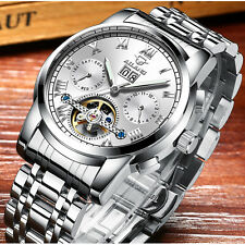 Luxury Mens Automatic Mechanical Watch Skeleton Stainless Steel Date Wristwatch