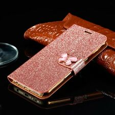 Luxury Bling Leather Magnetic Flip Wallet Card Cover Case For iPhone Samsung W