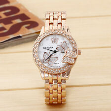 Fashion Golden Stainless Steel Womens Watches Crystal Analog Quartz Wrist Watch