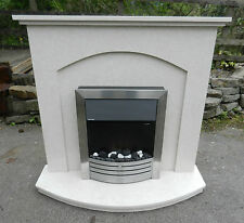 SOLID MARBLE FIREPLACE & ELECTRIC LIVING FLAME FIRE - GOOD CONDITION