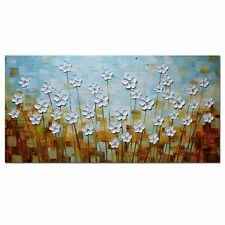 Oil Painting on Canvas Large Landscape Artwork Wall Art White Flowers Daisy Deco
