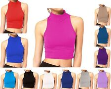 WOMENS LADIES CASUAL BASIC SLEEVELESS PLAIN TURTLE POLO NECK SEXY CROP TOP VEST