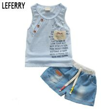 Kids Clothes Baby Boy Summer Clothes Set Tank Top + Jeans Shorts Childrens Toddl