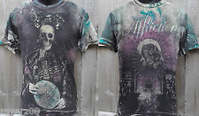 """Affliction Mens SMALL Royalty """"DRAGON QUEEN"""" Skeleton Foil T Shirt NEW RARE Tee"""