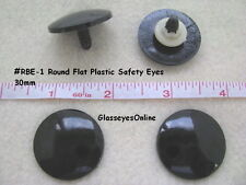 12 Pair 24mm or 30mm Flat ROUND Black Safety Eyes, Nose, Button, No Pupil  RBE-1