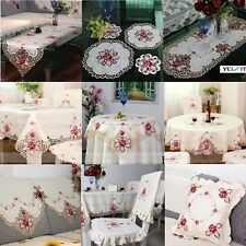 yazi Embroidered Rose Cutwork Fabric Table Runner Cloth Doily Chair Seat Cushion