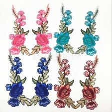 2 Pieces Flower Embroidery Iron-on Applique Sewing Craft