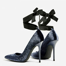 Womens Pointed Toe Velvet Cross Strap Shoes High Heel Party Stilettos Pumps New